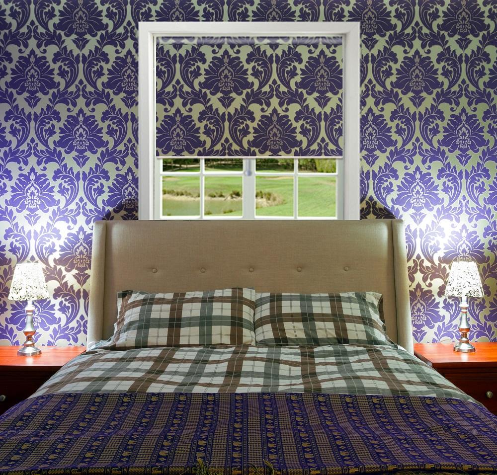 Bedroom Blinds Matching Wallpaper